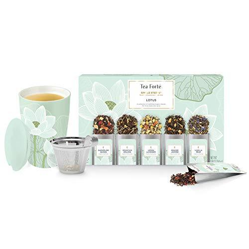 Tea Forte Lotus Kati Tea Infuser Cup + Lotus Single Steeps Loose Tea Sampler Bundle