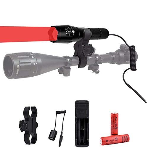 Linterna de luz roja, Linterna de Caza con Luz Roja, Recargable USB Foco Ajustable Lámpara de Antorcha de Caza LED Impermeable para Visión Nocturna, Astronomía (Batería Incluida)