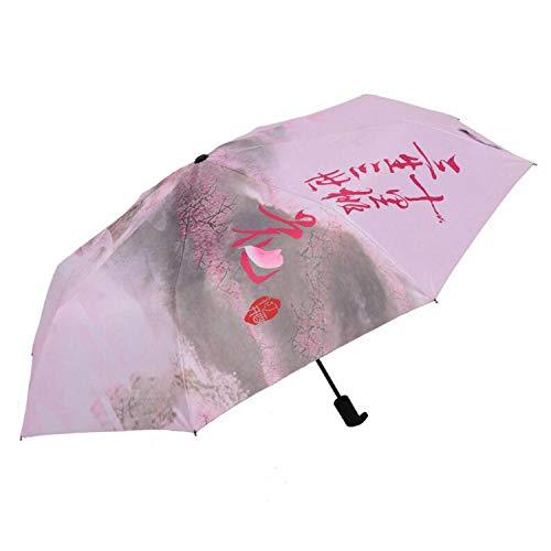 TONGS Paraguas Ciudadano Americano Descendiente de Japoneses Iii Shili Melocotón Florecer Paraguas con el Mismo Párrafo Exquisito Moda Plegable Lluvia Engranaje Pa