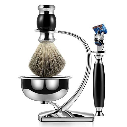GRUTTI Premium Rasierpinselset mit Luxusbürstenständer und Bürstenhalter für Seifenschale und manuellem Rasiermesser Geschenksets für Herren, kompatibel mit Fusion 5