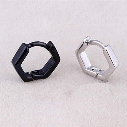 Pendientes Mujer Pendientes De Aro Pequeños Cuadrados Mujeres Hombres Color Negro Pendiente De Círculo Geométrico Joyería -Silver_Hexagon