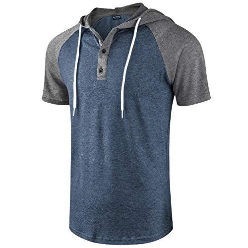 Moomphya Men's Jacquard Knitted Casual Short Sleeve Raglan Henley Jersey Hoodie T Shirt (A1 Gray/Blue SL, X-Large)