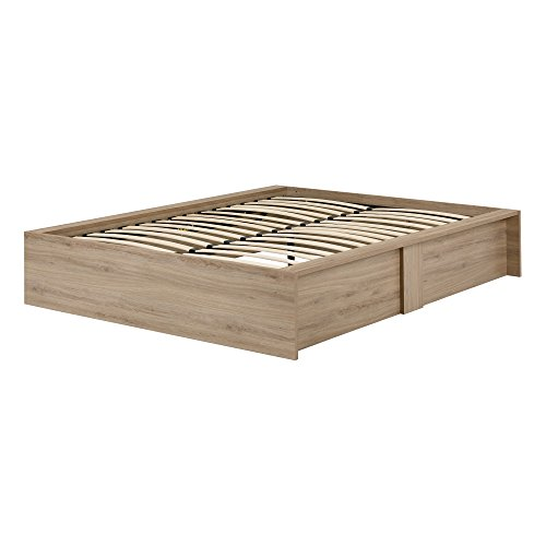 South Shore Step One Ottoman Storage Bed, Queen 60-Inch, Rustic Oak