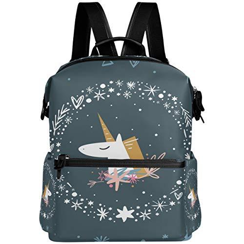 Oarencol - Mochila con diseño de unicornio y corona de flores y corazones, para la escuela, para viajes, senderismo, acampada, portátil
