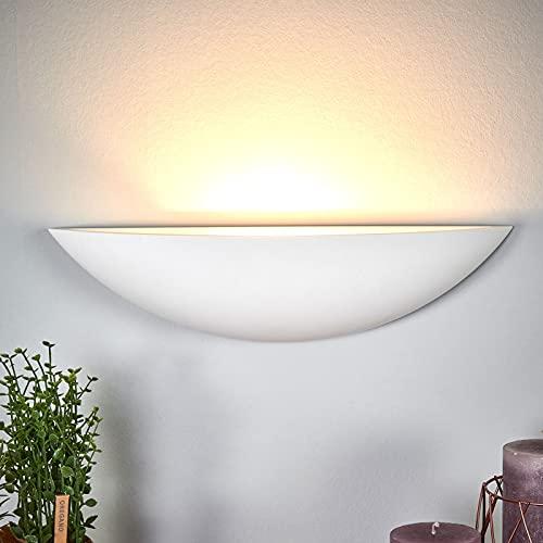 Lindby Gips Wandlampe weiß, bemalbar DIY  indirektes Licht Uplight   Wandleuchte Gips 1 flammig für Wohnzimmer, Esszimmer, Küche, Flur   Gipsleuchte Wand innen   IP20