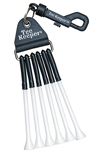 Tee Keeper Golf Tee Holder, Golf Bag Caddy w/ 6 White 3 1/4 Inch Tees, On Course Accessories