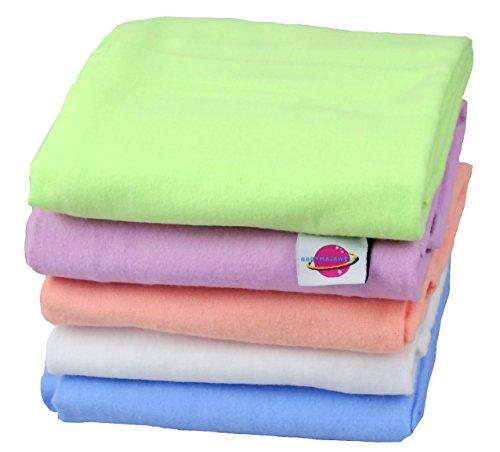 Babymajawelt® Couches lavables en flanelle pour bébé 70 x 80 cm (lot de 5, uni)