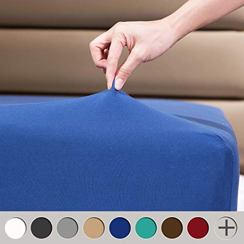 """COSMOPLUS Fitted Sheet Full Fitted Sheet Only(No Flat Sheet or Pillow Shams)4 Way Stretch MicroKnitSnug FitWrinkle Freefor Standard Mattress and Air Bed Mattress from 8"""" Up to 14""""Navy"""