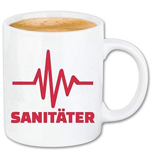 Reifen-Markt Kaffeetasse Herzschlag SANITÄTER - SANITÄTERIN - ERSTHELFER - KRANKENWAGEN - Krankenhaus Keramik 330 ml in Weiß