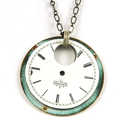 Steampunk Necklace - Two Pocket Watch Dials Back to Back - Elgin -  Starry Night Beadworks