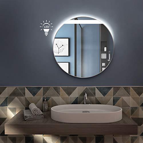 styleglass Specchio Bagno Tondo Leon Diamentro 60 cm, Made in Italy, Retroilluminato a LED adiacente alla sabbiatura, Telaio in PVC e Lamiera, Kit Fissaggio Murale Incluso, Grado Protezione IP20