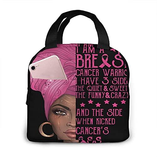 Breast Cancer Awarenesss Black Queen Melanin African Bolsa de almuerzo aislada impermeable, reutilizable Lunch Tote Fiambrera térmica con bolsillo Tote Bag para trabajo escolar Viajes al aire