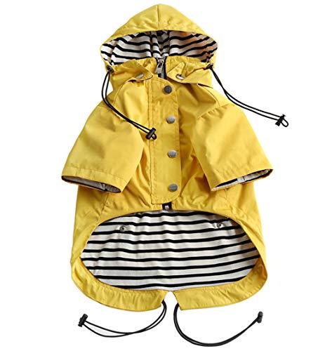 Dog Zip Up Dog Raincoat with Reflective Buttons, Rain/Water Resistant, Adjustable Drawstring, Removable Hood, Stylish Premium Dog Raincoats - Size XS to XXL Available - Yellow - Medium