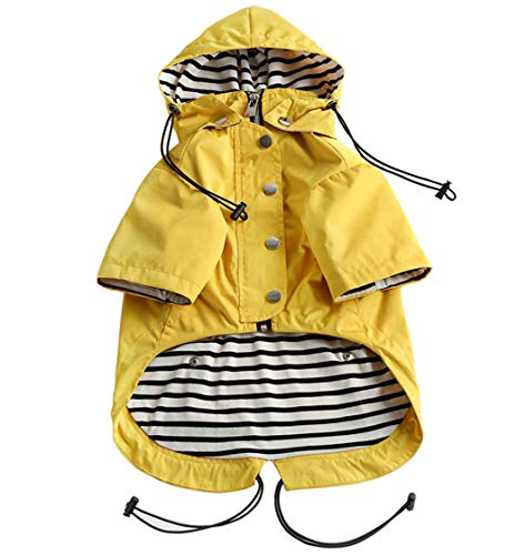 Dog Zip Up Dog Raincoat with Reflective Buttons, Rain/Water Resistant, Adjustable Drawstring,...