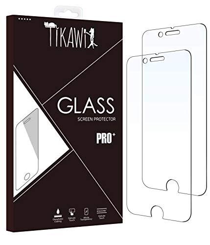Tikawi - Juego de 2 protectores de pantalla de cristal templado para iPhone 8 y iPhone 7 (2 unidades)