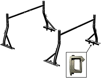 TMS Non-Drilling 850 LB Low Profile Extendable Universal Steel Pickup Truck Sport Bar Ladder Rack Lumber Utility Two Bar Set with Mounting Clamps