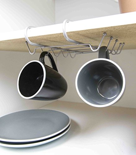 Home Basics CH49788 Shelf, Silver Mug Rack, One Size