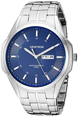 Armitron Men's 20/5391NVSV Day/Date Function Silver-Tone Bracelet Watch