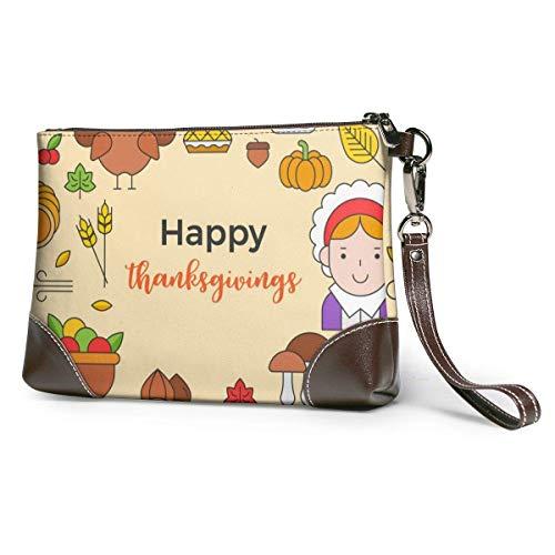 Hdadwy Thanksgiving-Symbol Ordnen Sie als Kreisform Frauen Leder Geldbörsen Kupplung Telefonkarten Brieftaschen