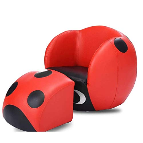 JJZXD Kids Sofa, Space-Saving Kids Chair with Footstool Single Seat Sofa, Perfect for Child's Bedroom Playroom Red