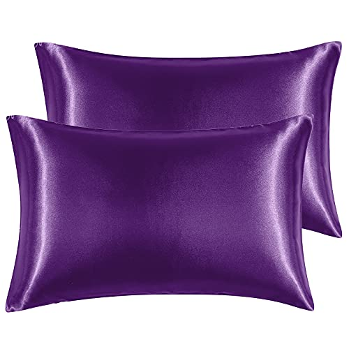 Hansleep Funda Almohada 50x70cm de Satén Ciruela púrpura, Sedoso estándar para 2 Piezas, con Cierre de sobre, Muy Liso Suave de 100% Microfibra, Belleza Facial, Cuidado de la Cara, hipoalergén