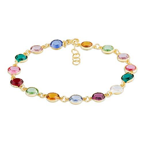 Córdoba Jewels   Pulsera en Plata de Ley 925 bañada en Oro con Cristales by Swarovski con diseño Colors Swarovski Gold