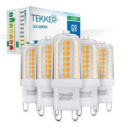 TEKKER® Premium G9 LED – 5 Stück – Leuchtmittel Warmweiss – Ersatz für 40W Halogenlampen – 3000 K – 4W – 400 Lumen – 25.000h Lebensdauer – Kein Flackern – 360° Abstrahlwinkel – 220-240V
