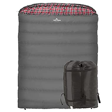 Teton Sports Mammoth +20F Double-Wide Sleeping Bag; Warm and Comfortable; Double Sleeping Bag Great for Family Camping; Compression Sack Included; Grey
