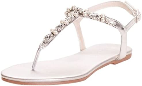 David s Bridal Pearl and Crystal T Strap Sandals Style Sarina Silver Metallic 7W product image