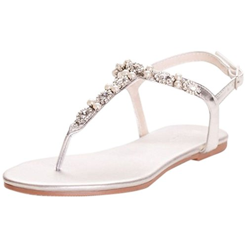 David's Bridal Pearl and Crystal T-Strap Sandals Style Sarina, Silver Metallic, 9W