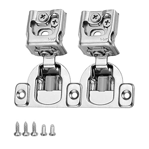 Self-Close 1-1/4'' Kitchen Cabinet Hinges Satin Nickel Stainless Steel Cabinet Door Hinges - Pack of 10 goldenwarm 1-1/4 Inch Partial Overlay Cupboard Hinges Flush Hinges