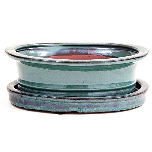 Bonsai - Schale oval, 21 x 16,5 x 7 cm, grün, mit Untersetzer 23905