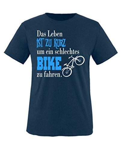 Comedy Shirts - Das Leben ist zu kurz um EIN schlechtes Bike zu Fahren - Jungen T-Shirt - Navy/Weiss-Blau Gr. 152/164