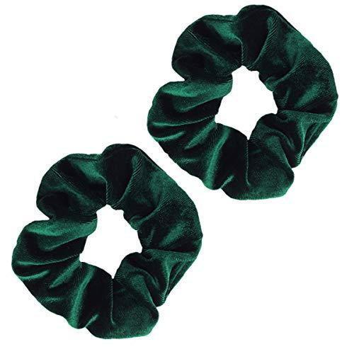 Guvass 2 Pack Hair Scrunchies Green Velvet Elastics Scrunchy Bobbles Soft Hair Bands Hair Ties for Women (Green)