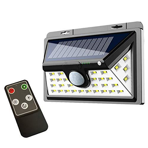 Solarleuchten im Freien, Sicherheits-Bewegungssensorleuchten, IP65 wasserdicht mit Fernbedienung, 270-Grad-Weitwinkel-LED-Solarleuchte für Treppenstufen, Hof, Garten, Garage, Terrasse (34 lights)