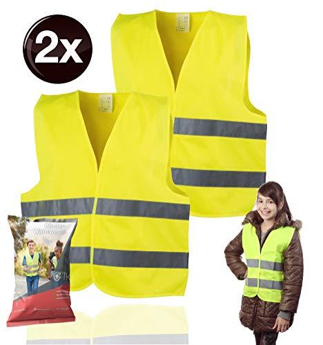 TK Gruppe Timo Klingler 2X Warnweste XS gelb, für Kinder - Jungen & Mädchen - EN471 Pannenweste 2020 Unfallweste Sicherheitsweste ultrahell & starkreflektierend Schulanfänger (2X)