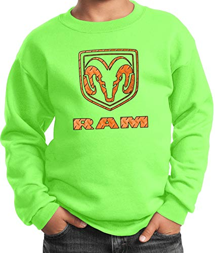 Yoga Clothing For You Dodge Ram Diamond Plate Logo Youth Kids Sweatshirt, Neon Green Large