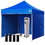 Eurmax 10'x10' Ez Pop-up Canopy Tent Commercial Instant Canopies with 4 Removable Zipper End Side Walls and Roller Bag, Bonus 4 SandBags(Royal Blue)