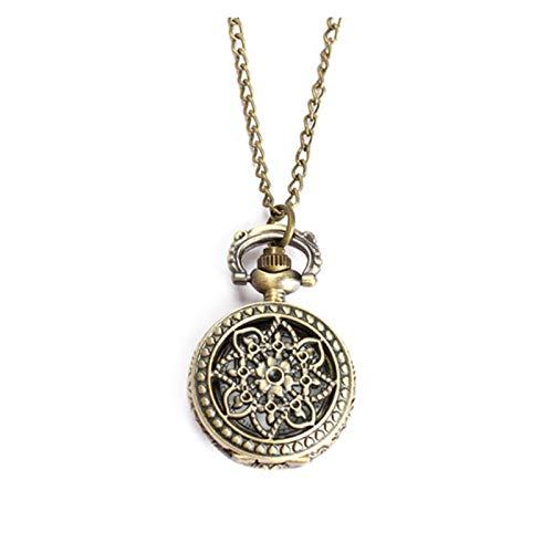 Retro Mujeres Hombres Reloj de Bolsillo Vintage Tamaño pequeño Lotus Hollow out Cuarzo Reloj Collar Cadena Pocket Watch