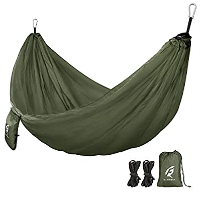 QF Single Camping Hammock with 10FT Tree Straps, Lightweight Portable Hammocks for Hiking, Travel, Backpacking, Beach, Backyard, Outdoor, Indoor - 210T Nylon - MAX Support 400lbs