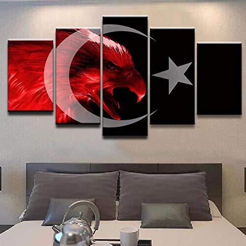 QZGRQ Artwork Poster Canvas Modernes Bild für Schlafzimmer Modular 5 Stück Flagge der Türkei Wohnzimmer Wandmalerei Home Decor