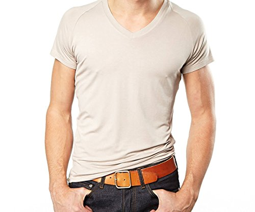 Mr. Davis Men's Bamboo Viscose Traditional Cut V Neck Undershirt, L, Tone