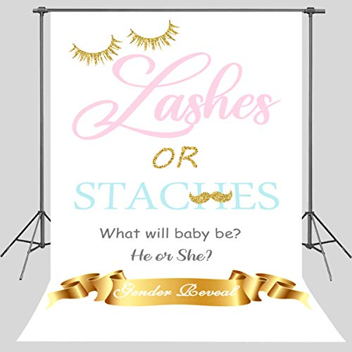 STS 6x9ft Lashes or Staches Backdrop Gender Reveal Pink or Blue Mustaches or Lashes Gold Glitter Photo Background Photography Background Photo Studio Props LYST055