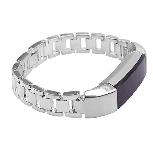 Ambcol Für Fitbit Alta HR Armband, Smart Watch Metall Ersatzband Band für Fitbit Alta, Silber