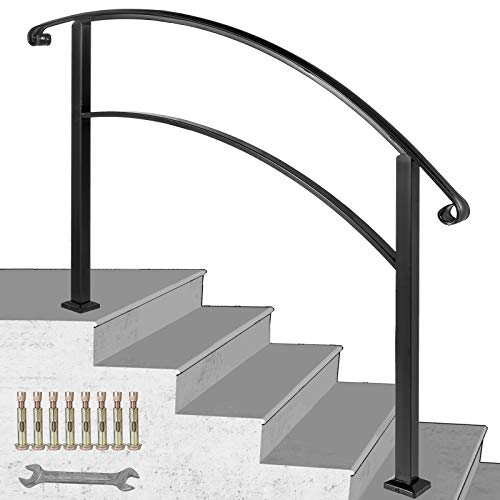 Happybuy 5-Step Handrail Fits 1 or 5 Steps Matte Black Stair Rail Wrought Iron Handrail with Installation Kit Hand Rails for Outdoor Steps