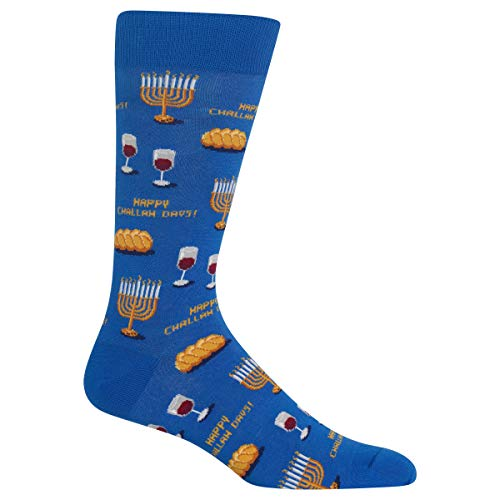 Hot Sox Men's Happy Challah Days Socks, Blue, Men's Shoe Size 6-12.5