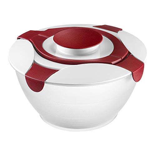 Westmark Salatbutler/-schüssel mit Tragegriffen und Dressing-Behälter, Fassungsvermögen: 6,5 Liter, Kunststoff, Praktika, Transparent/Weiß/Rot, 2422227R