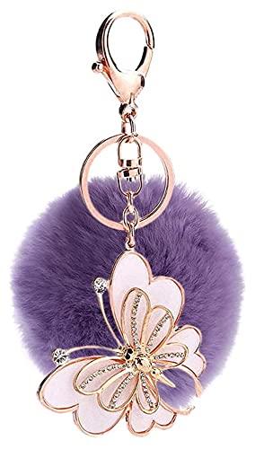 Seupeak Creative Butterfly Hairball Colgando Llavero Adornos Furry Ball Crystal Animal Alloy Llavero Holder Coche Llavero Ring Mochila Bolso Colgando Adornos Color_8 (Color : Color-8)