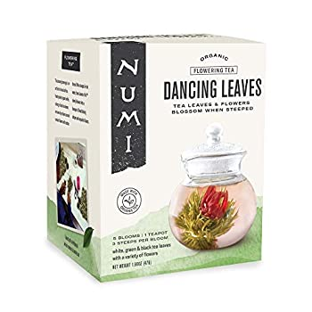 Numi Organic Tea Dancing Leaves Flowering Tea Gift Set 5 Tea Blossoms with 16 Ounce Glass Teapot  Packaging May Vary