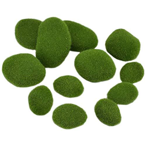 spier Außendekoration, 12 Stück Künstliche Moossteine Moosball Kleine Mittlere Große Moos Felsengrüne Moosbälle Dekorative Simulation Moos für Blumentopfgarten